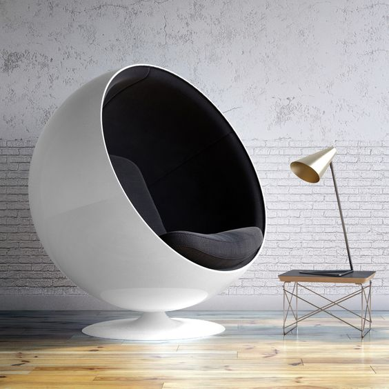black and white ball chair